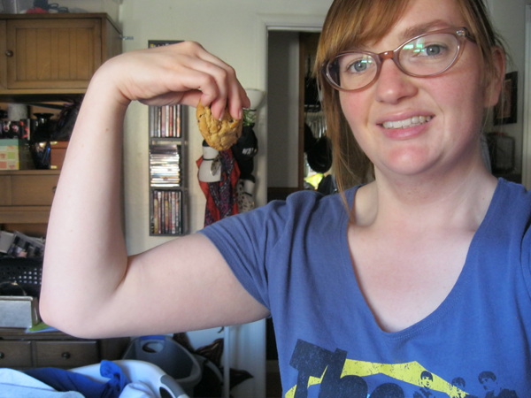 Showing muscle is kind of difficult when holding a cookie.