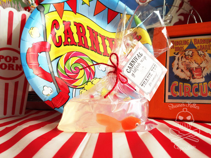 Goldfish soap favors at a Carnival party